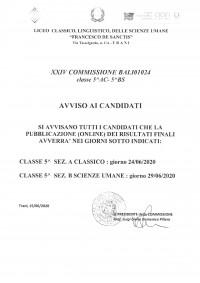Avviso ai candidati Commissione BALI01024